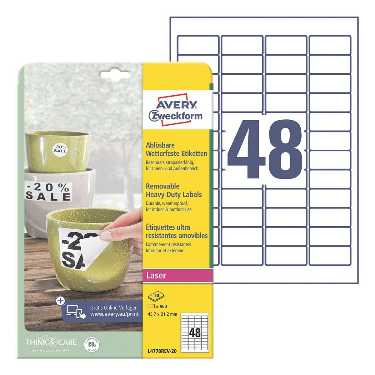 Avery Zweckform Wetterfeste Folien-Etiketten 45,7x21,2 mm »L4778REV-20« wiederablösbar