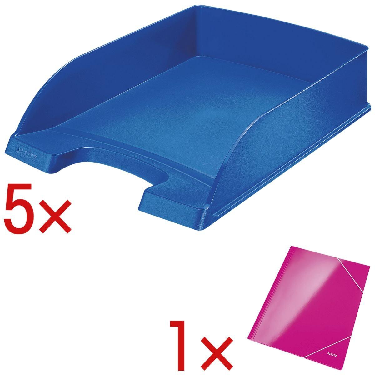 5x LEITZ Briefablage 5227, A4 Polystyrol, stapelbar bis 12 Stück, inkl. Eckspannermappe »Wow«