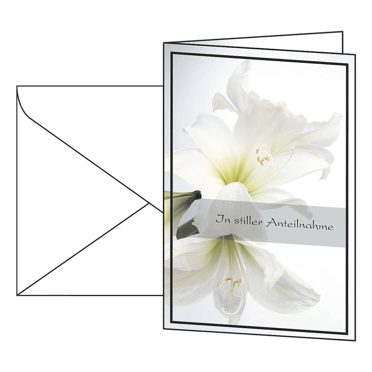 Trauerkarte SIGEL Weiße Amaryllis, A6, mit Umschlag, 10 Stück