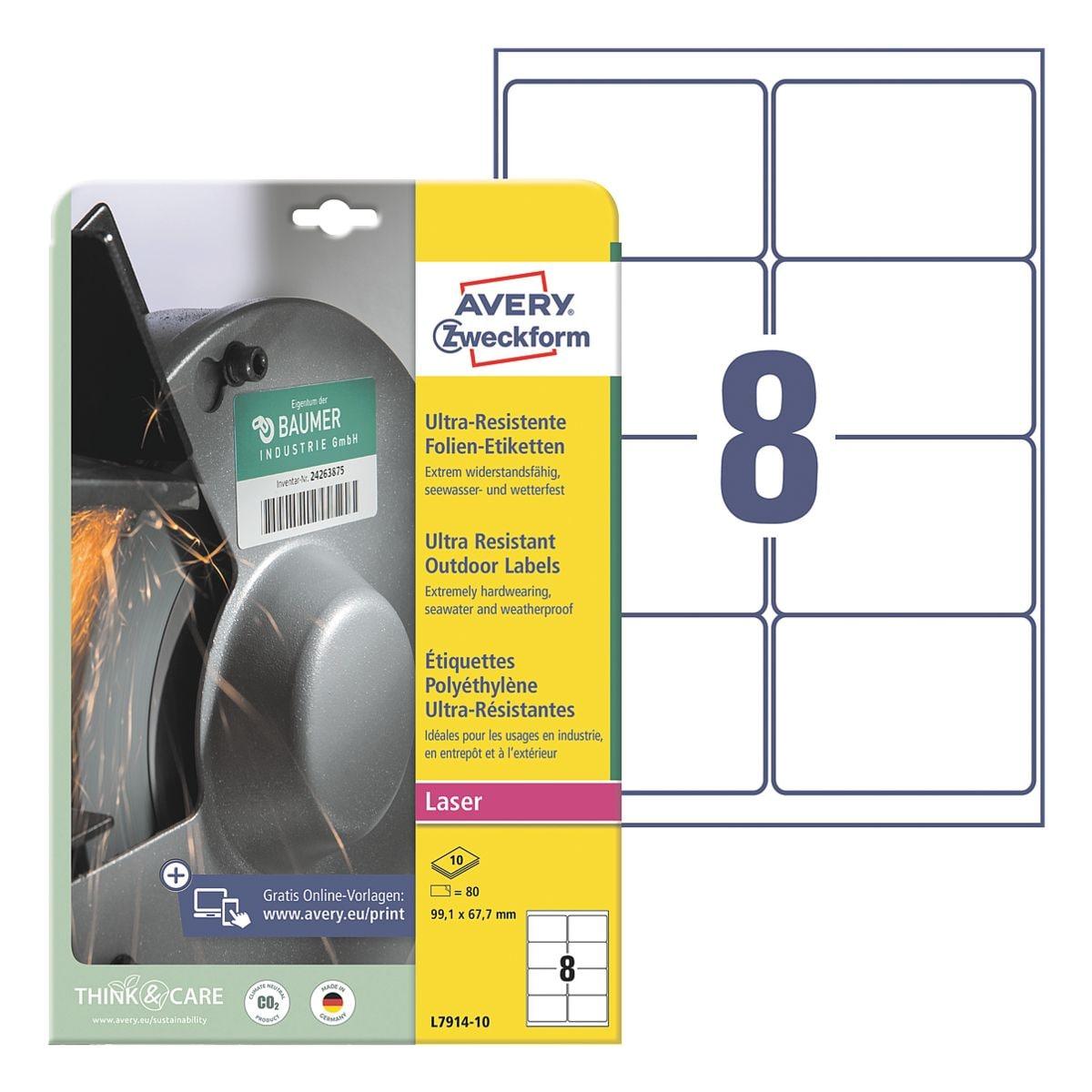 Avery Zweckform Ultra-Resistente 99,1x67,7 mm Folien-Etiketten L7914-10