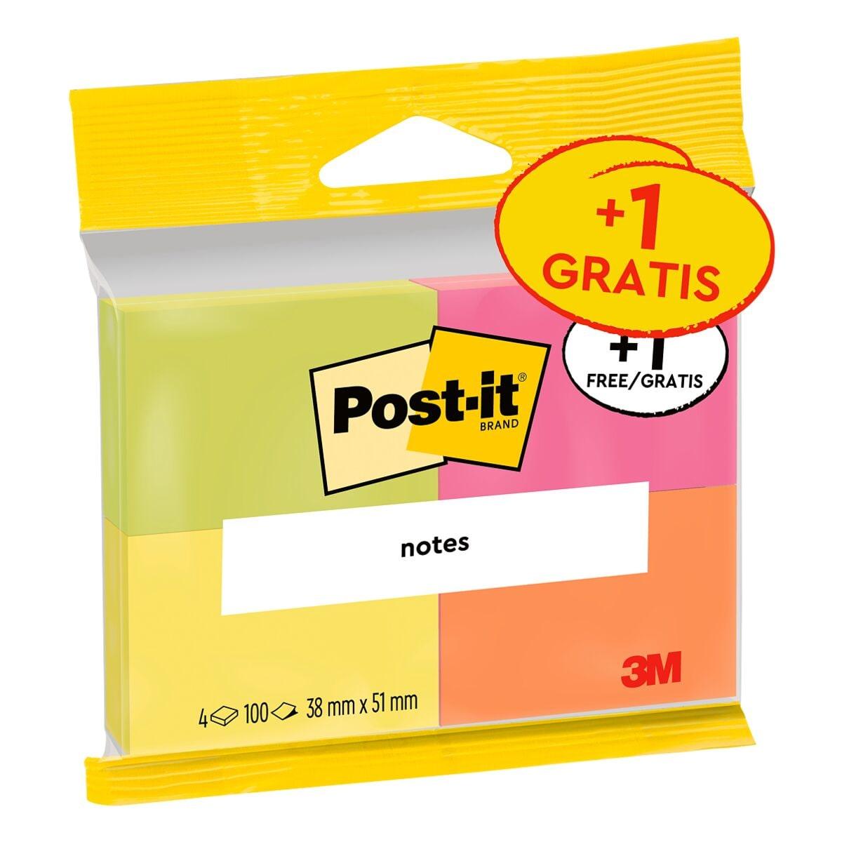 4x Post-it Notes Haftnotizblock Notes 653 5,1 x 3,8 cm, 400 Blatt gesamt, farbig sortiert
