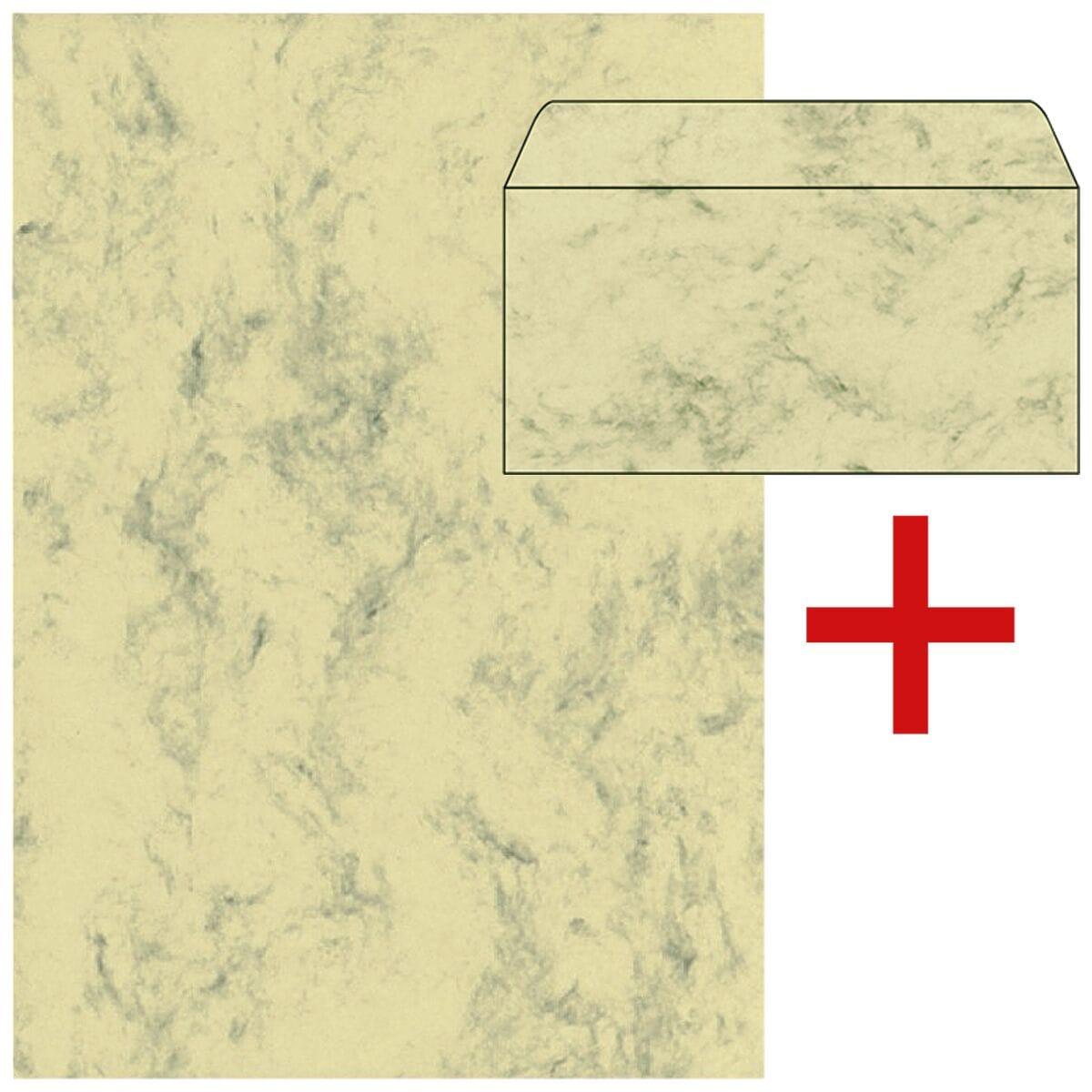 Sigel 1 Pack Marmorpapier inkl. 1 Pack Farbige Briefumschläge
