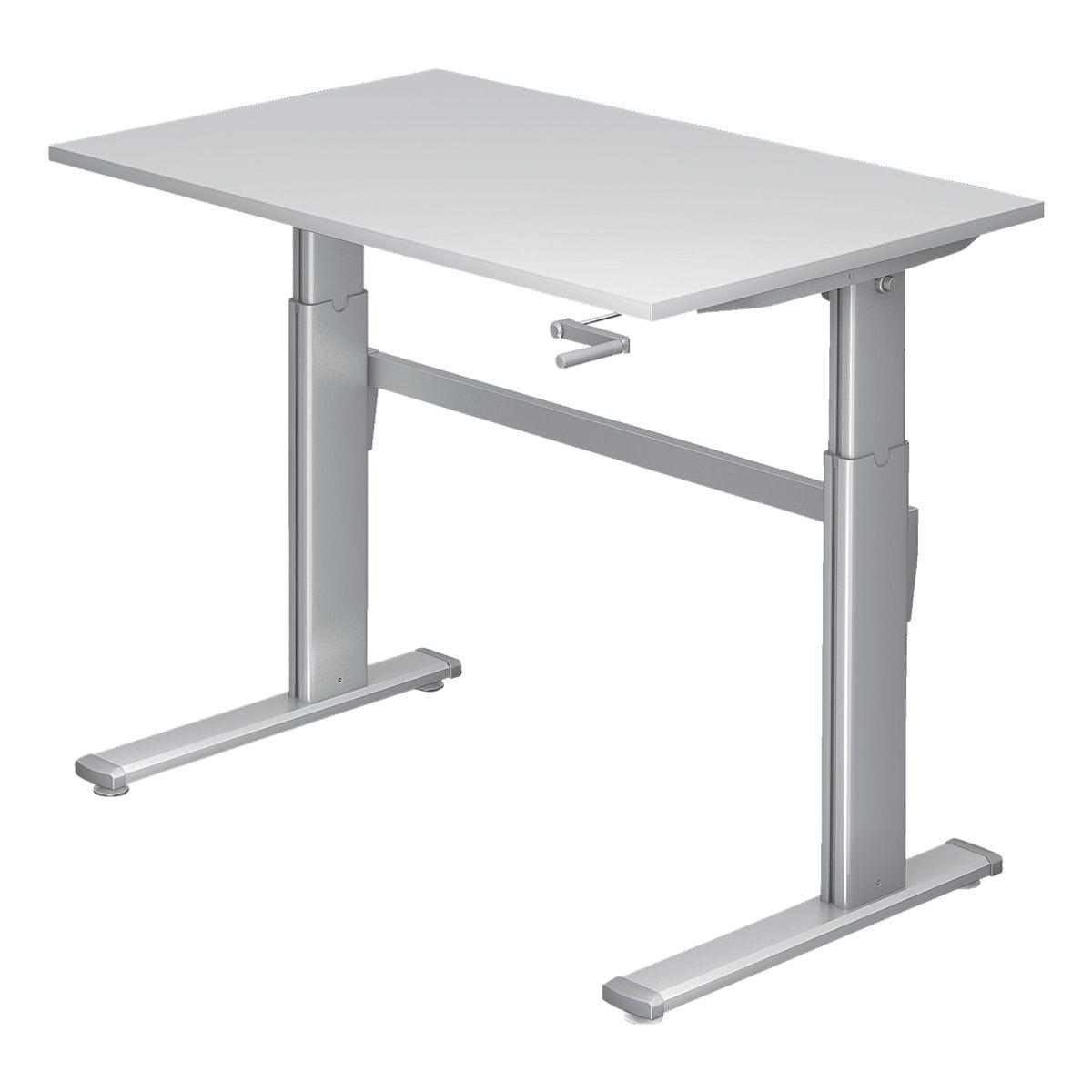 hammerbacher schreibtisch h henverstellbar manuell upper desk 120 cm c fu alufarben bei. Black Bedroom Furniture Sets. Home Design Ideas