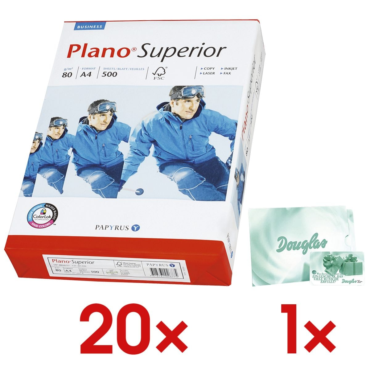 20x Multifunktionales Druckerpapier A4 Plano Superior - 10000 Blatt gesamt inkl. Douglas-Gutschein