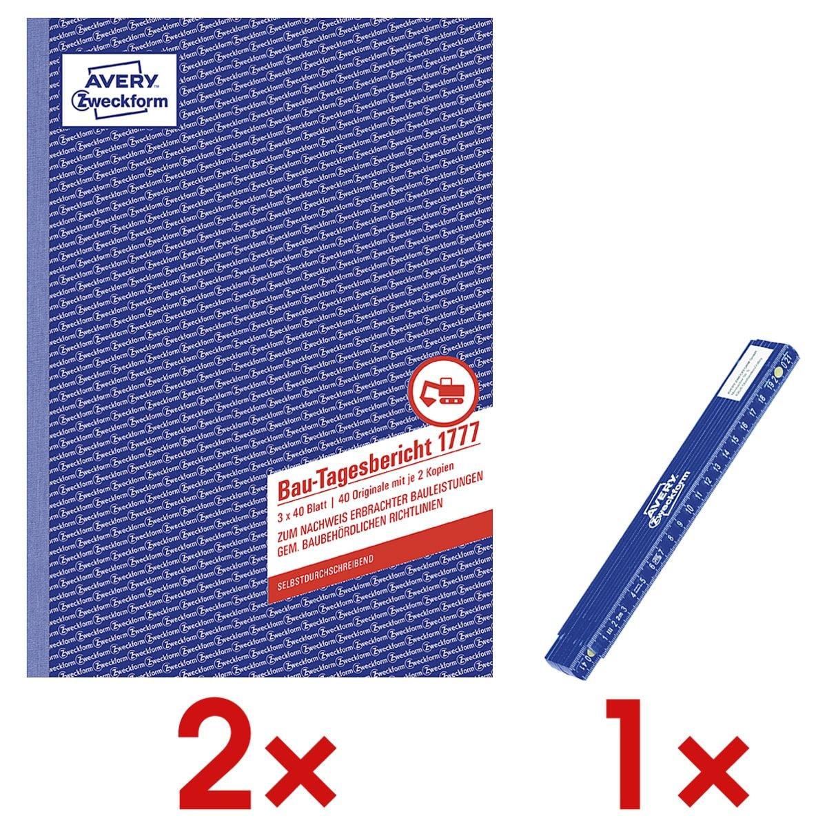 Avery Zweckform 2x Formularbücher »Bau-Tagesbericht« inkl. Zollstock