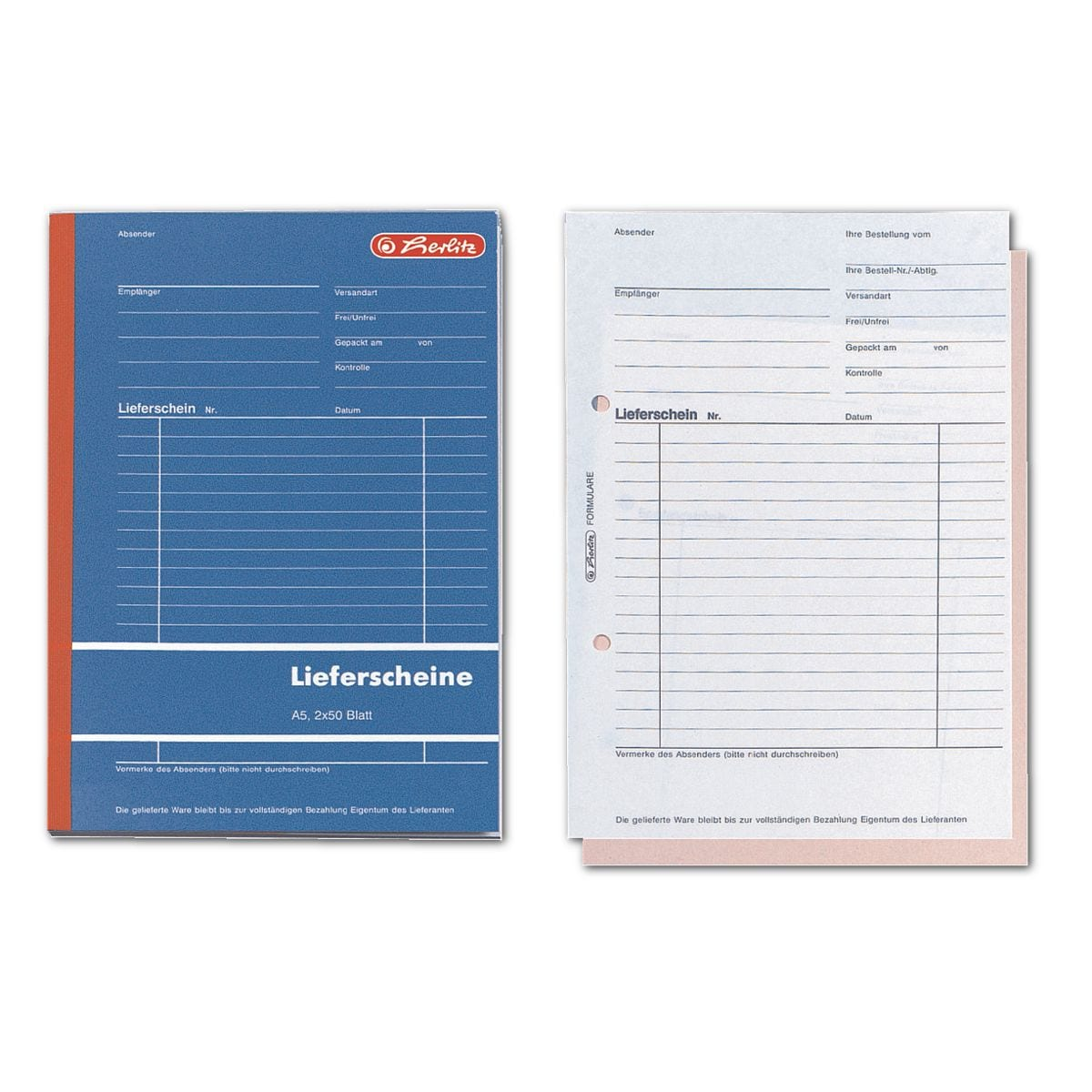Herlitz Formularbuch »Lieferschein mit Empfangsschein« (2-fach mit Blaupapier)