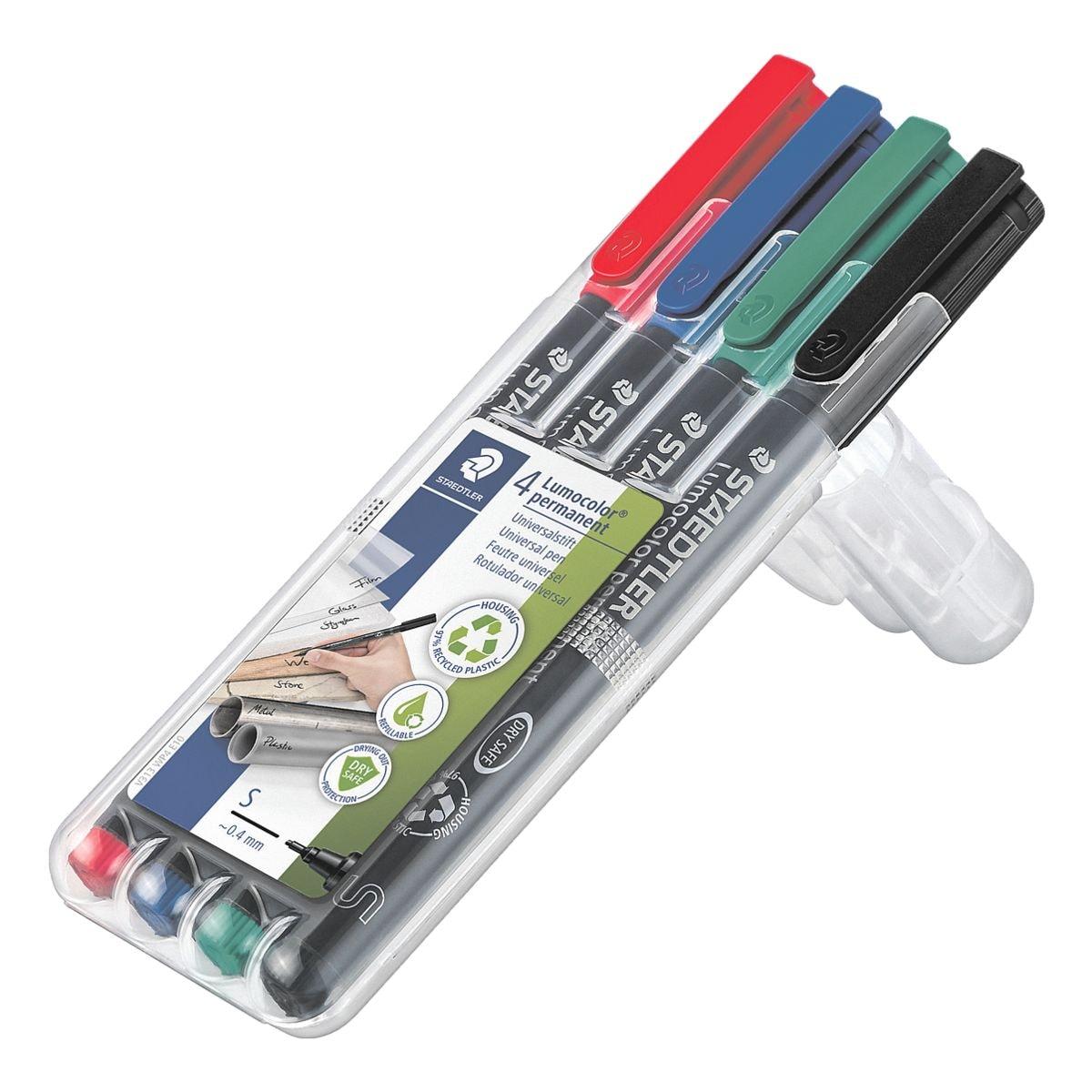 STAEDTLER Universalstift 4er-Pack Lumocolor permanent S - Rundspitze, Strichstärke 0,4 mm (S)