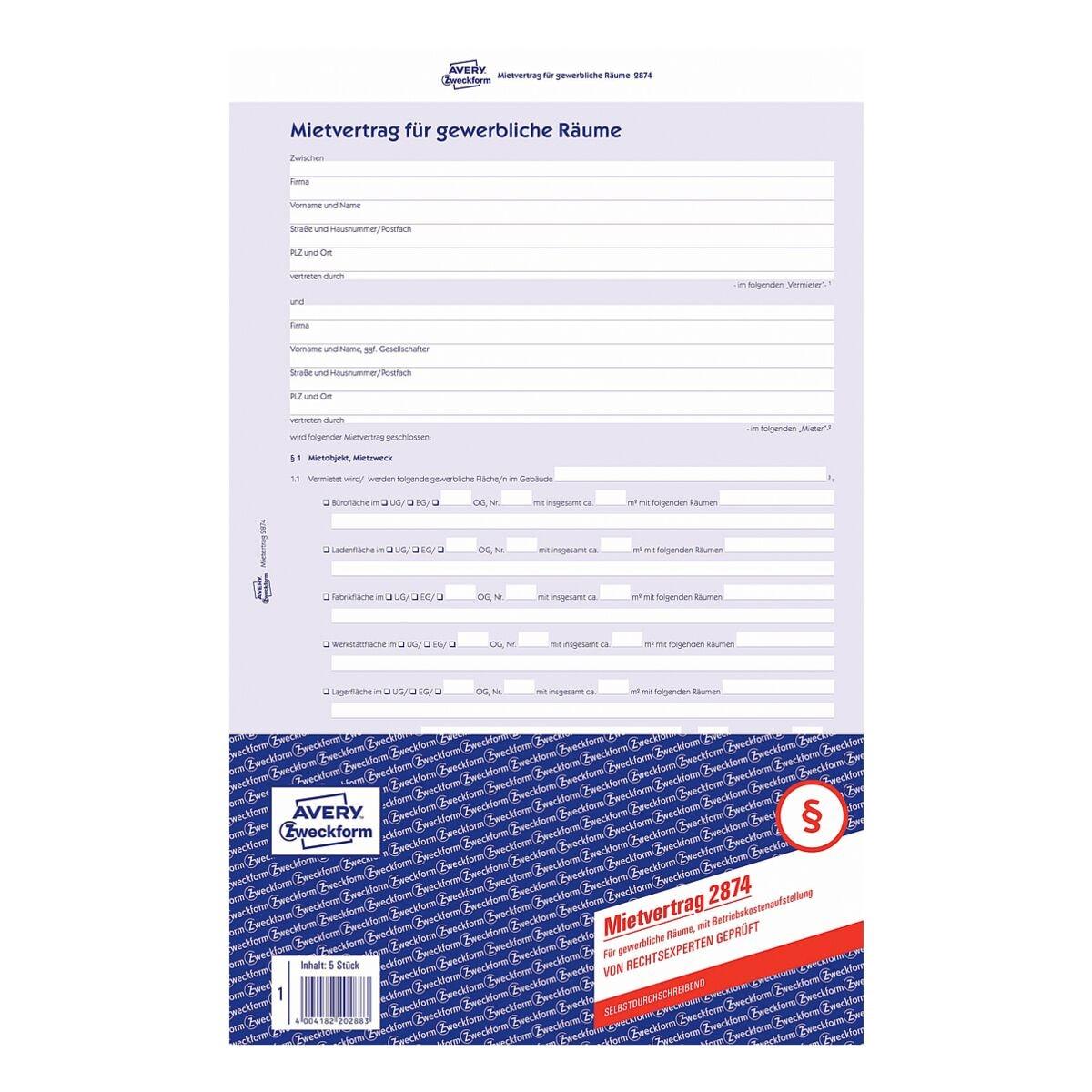 Avery Zweckform Formularvordruck »Mietvertrag für gewerbliche Räume, mit Betriebskostenaufstellung«