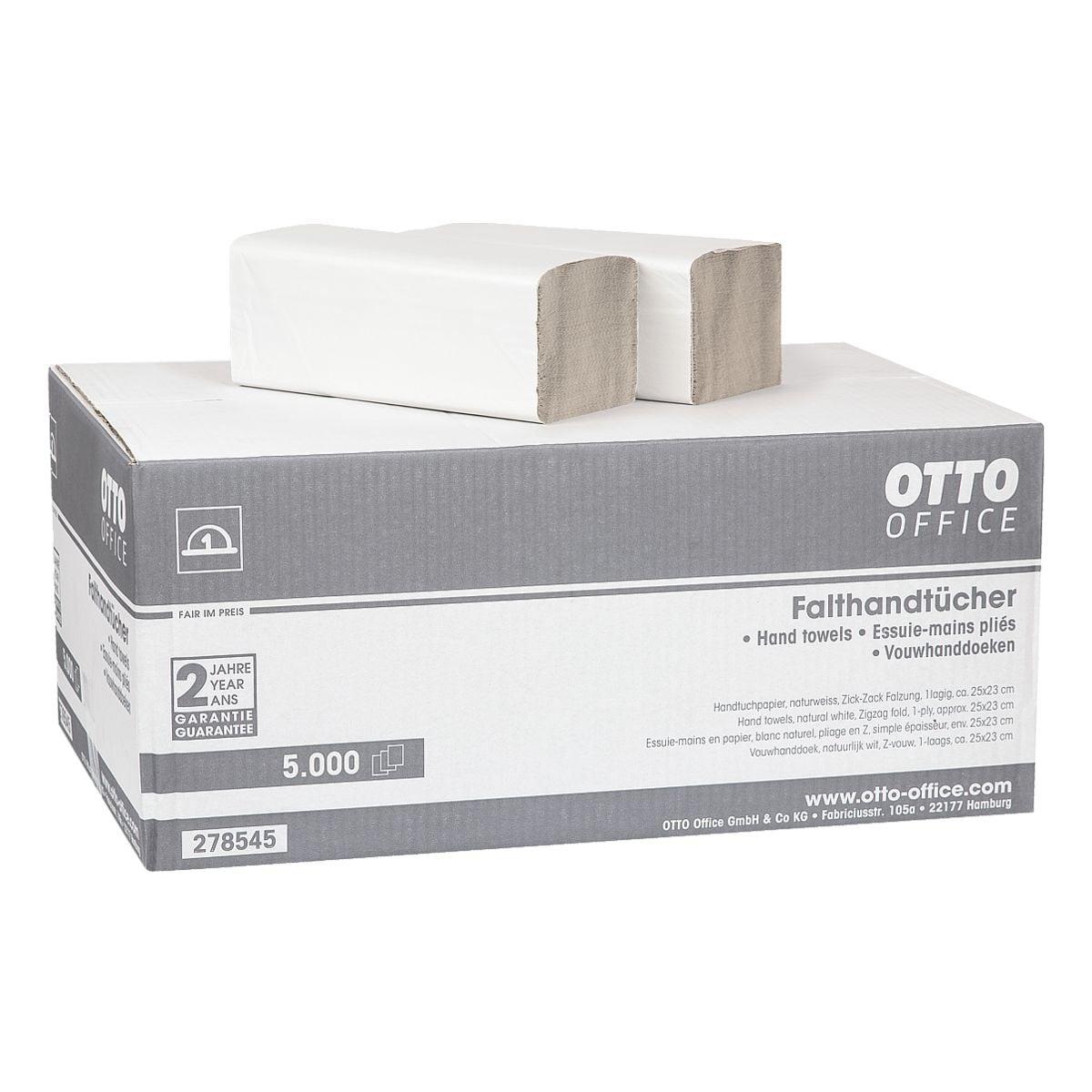 Papierhandtücher OTTO Office Budget Budget 1-lagig, naturweiß, 25 cm x 23 cm aus Recyclingpapier mit Z-Falzung - 5000 Blatt gesamt