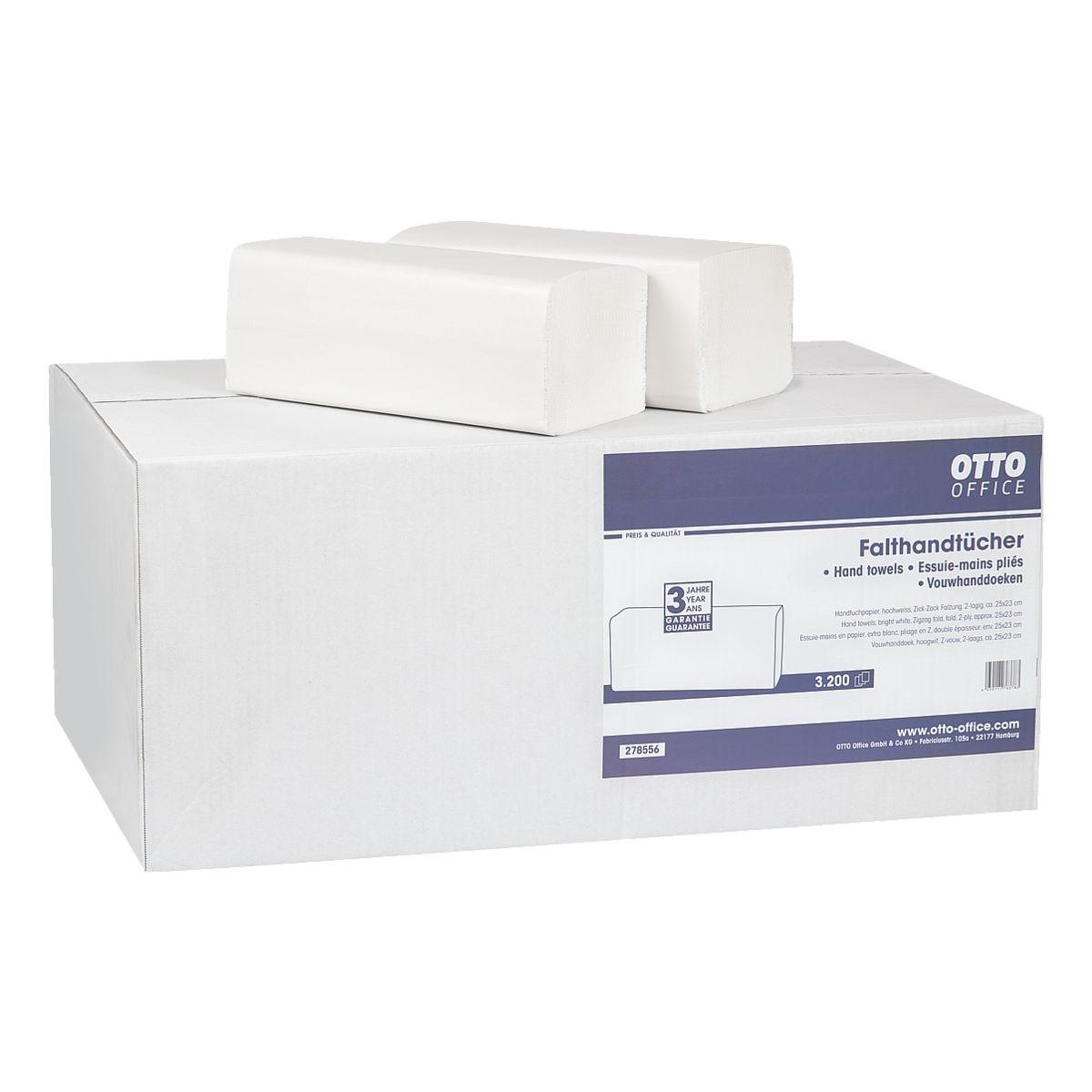 Papierhandtücher OTTO Office 2-lagig, hochweiß, 25 cm x 23 cm aus Tissue mit Z-Falzung - 3200 Blatt gesamt