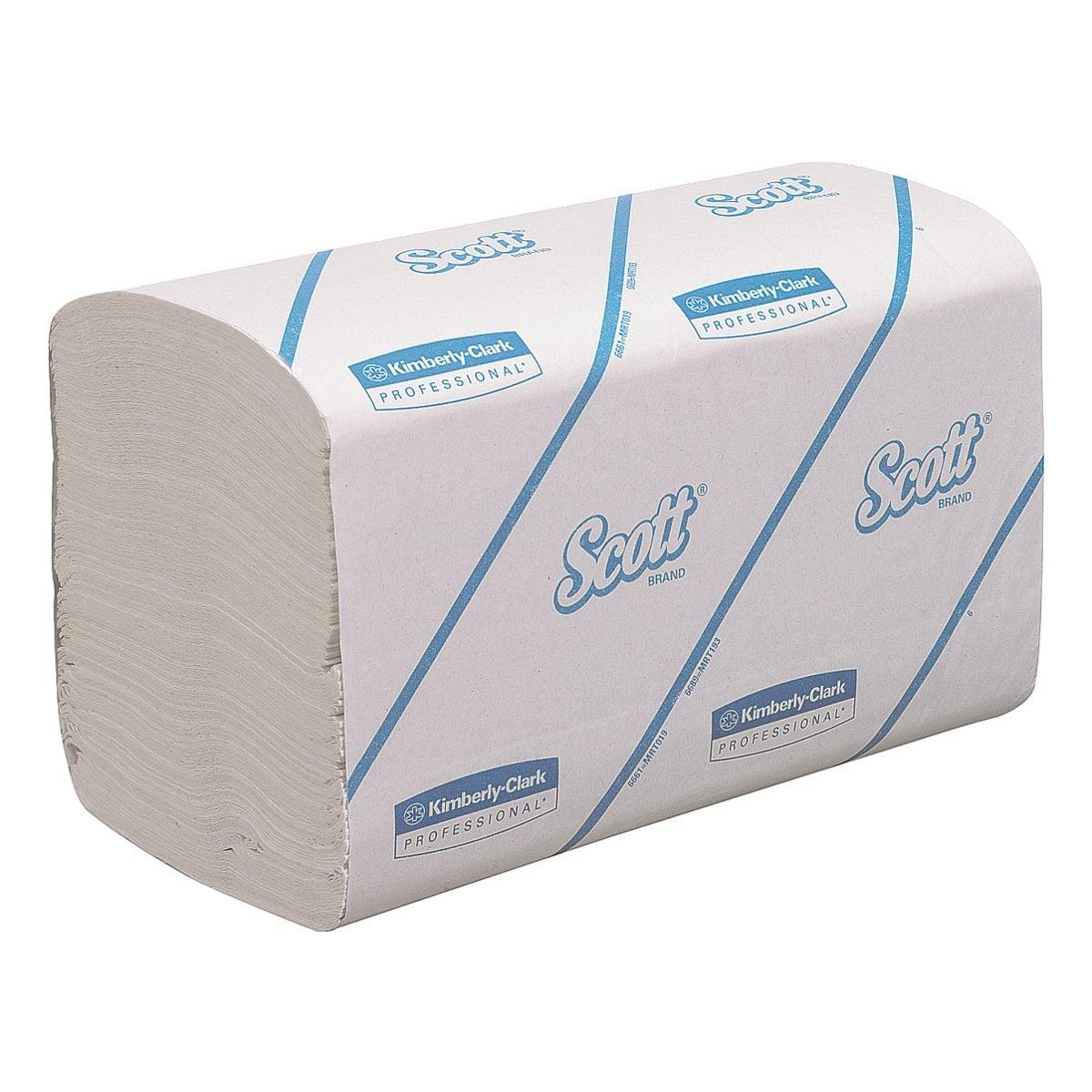 Papierhandtücher Scott Performance 1-lagig, weiß, 21,5 cm x 31,5 cm aus Airflex mit I-Falzung - 3180 Blatt gesamt