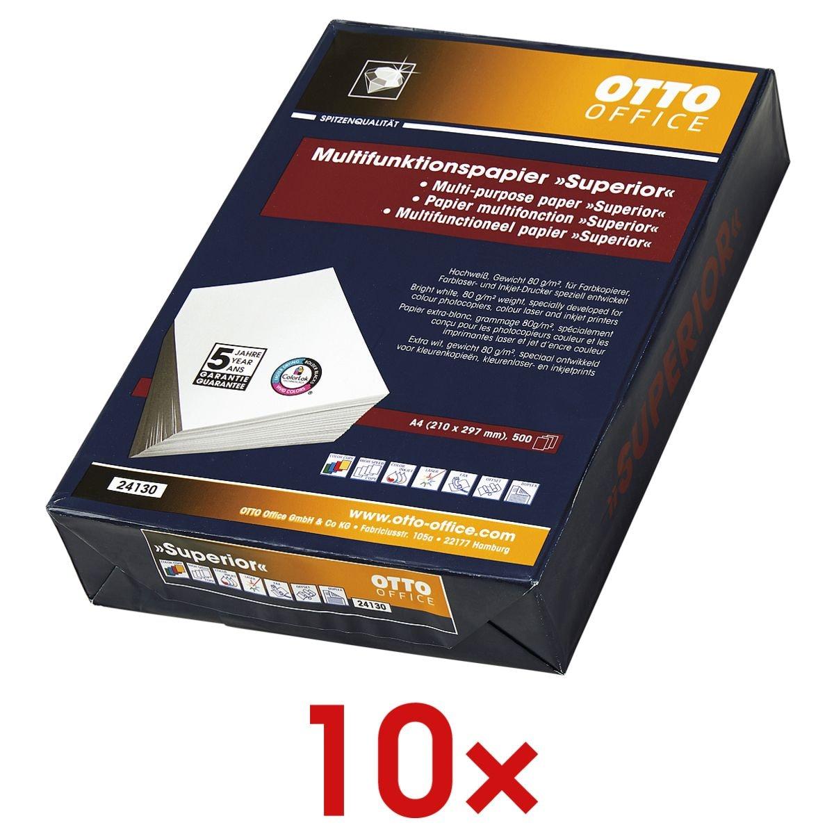 10x Multifunktionales Druckerpapier A4 OTTO Office Premium Superior - 5000 Blatt gesamt