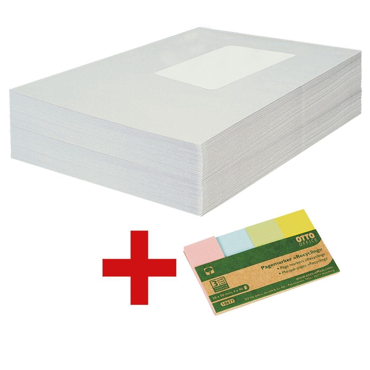 Recycling-Briefumschläge OTTO Office Nature, C5 100 g/m² mit Fenster, selbstklebend - 500 Stück inkl. Pagemarker »Recycling« 20 x 50 mm
