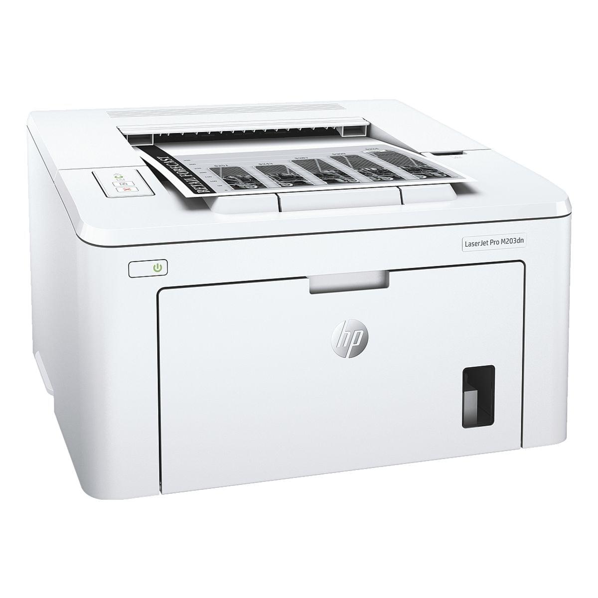 HP Laserdrucker LaserJet Pro M203dn, A4 schwarz weiß Laserdrucker, 1200 x 1200 dpi, mit LAN