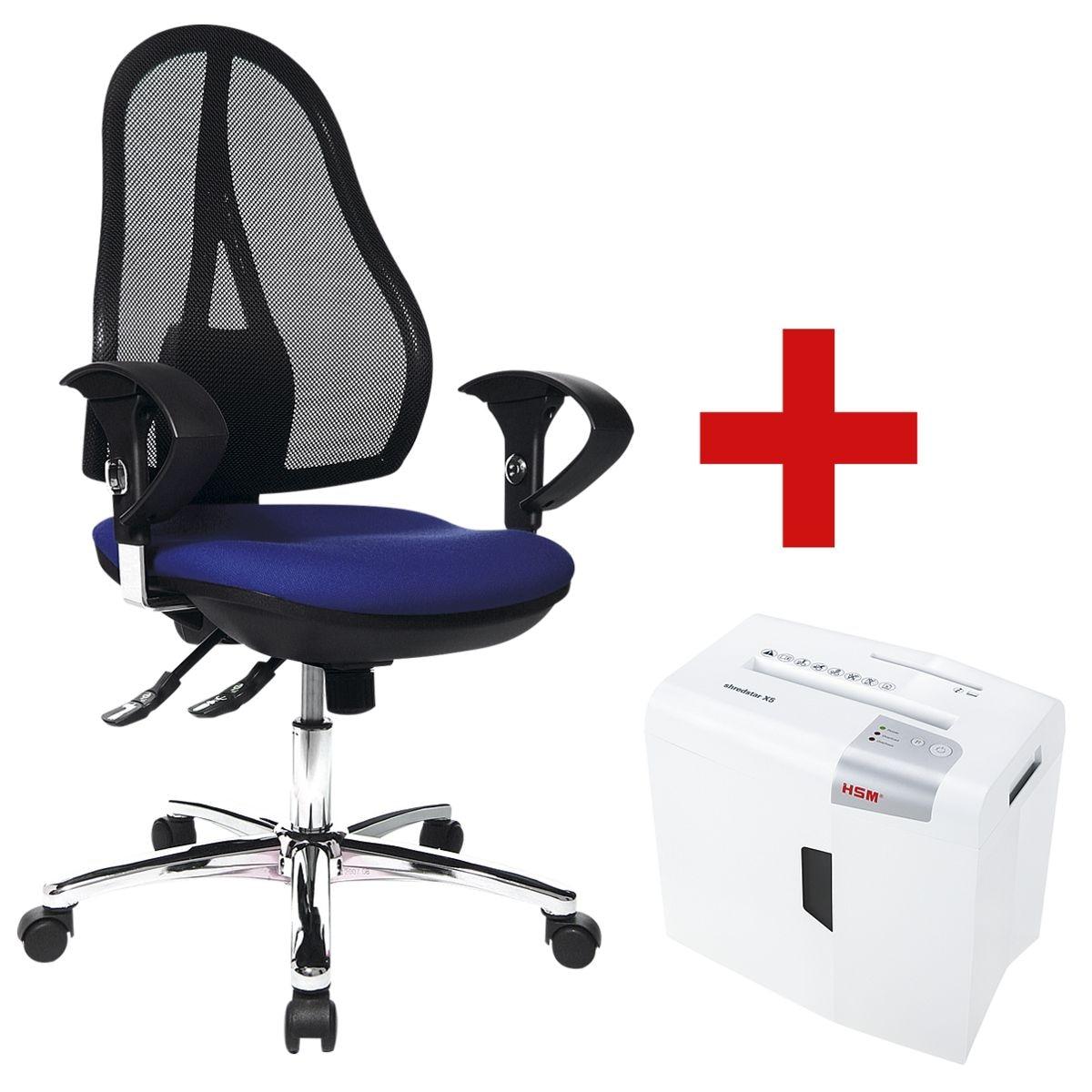 Bürostuhl »Open Point SY Deluxe« mit Armlehnen inkl. Aktenvernichter »shredstar X5 4,5 x 30 mm«