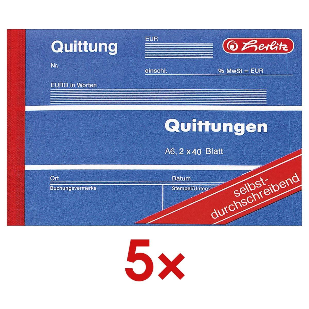 Herlitz 5x Formularbuch »Quittung inkl. MwSt.«