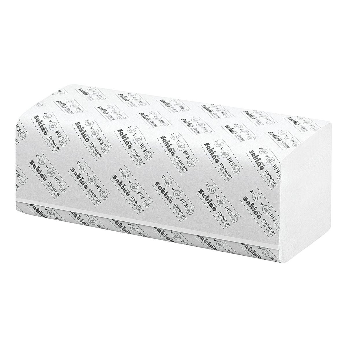 Papierhandtücher Satino SMART Wepa Smart 2-lagig, hochweiß, 24 cm x 23 cm aus Recyclingpapier mit Z-Falzung - 4000 Blatt gesamt