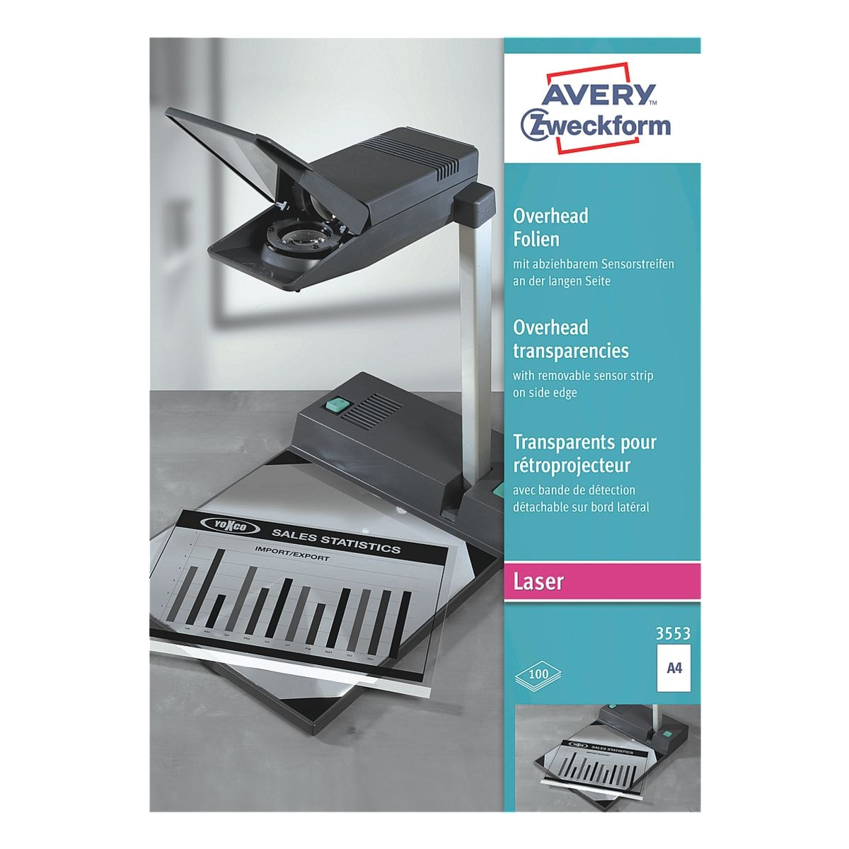 Avery Zweckform Overhead-S/W-Laserfolien »Sensorstreifen lang«