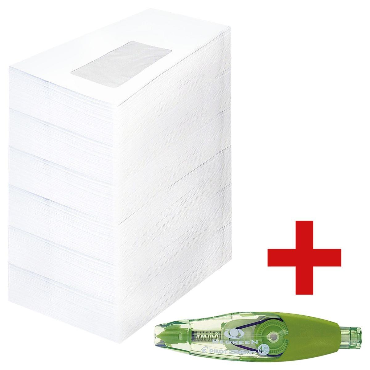 Briefumschläge, DL 75 g/m² mit Fenster - 1000 Stück inkl. Refill-Korrekturroller »Whiteline RT BeGreen«