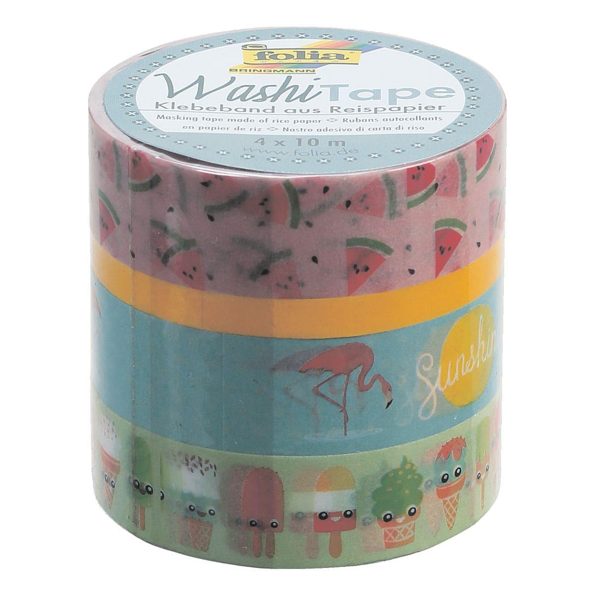4x folia deko klebeband washi tape tropical farbig wieder. Black Bedroom Furniture Sets. Home Design Ideas