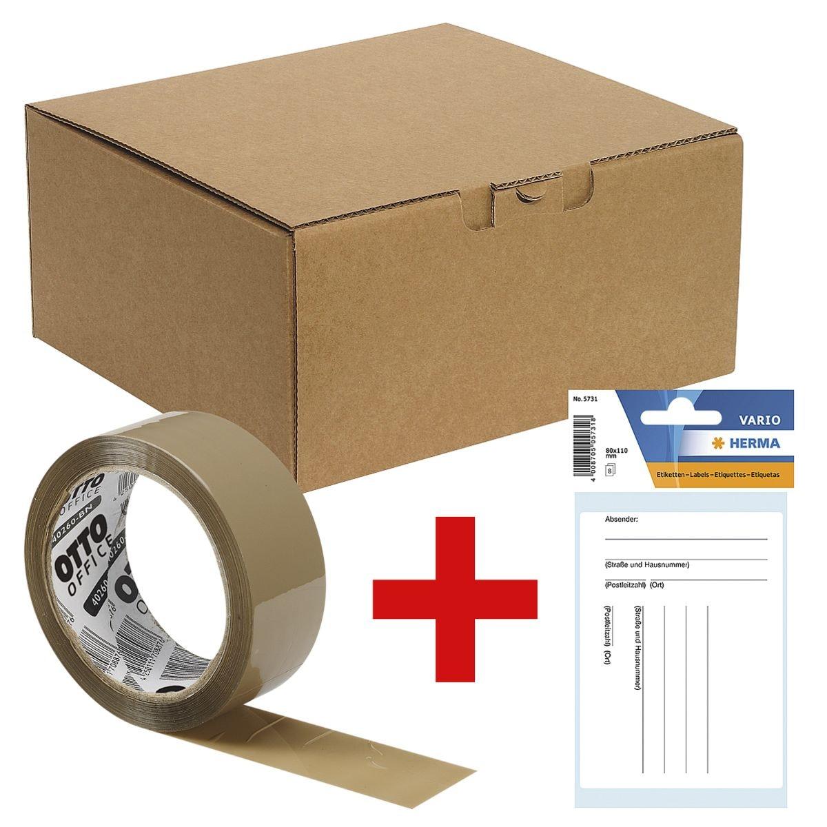 Ordner-Versandkartons 32,3/29,0/15,0 cm - 10 Stück inkl. Packband »Standard« inkl. Paketadressen/Versandzettel »5731«