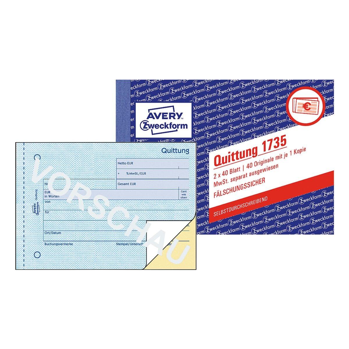 Avery Zweckform 5er-Pack Formularbuch »Quittung 1735 MwSt. separat ausgewiesen«