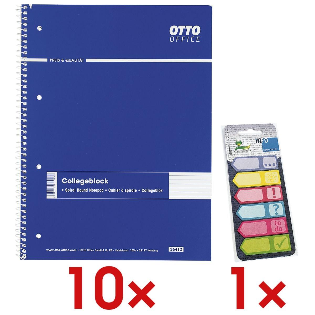 10x OTTO Office Collegeblock A4 liniert, 80 Blatt inkl. Haftmarker 150 Blatt gesamt, Papier, 50 x 18 mm