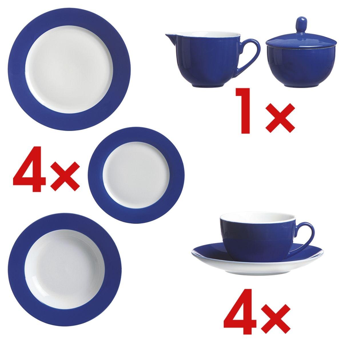 Ritzenhoff & Breker Tafelservice-Set »Doppio«, bestehend aus: 4 Speisetellern, 4 Kaffeetassen inkl. 4 Untertassen, 4 Desserttellern, 4 Suppentellern, Zuckerdose und Milchgießer
