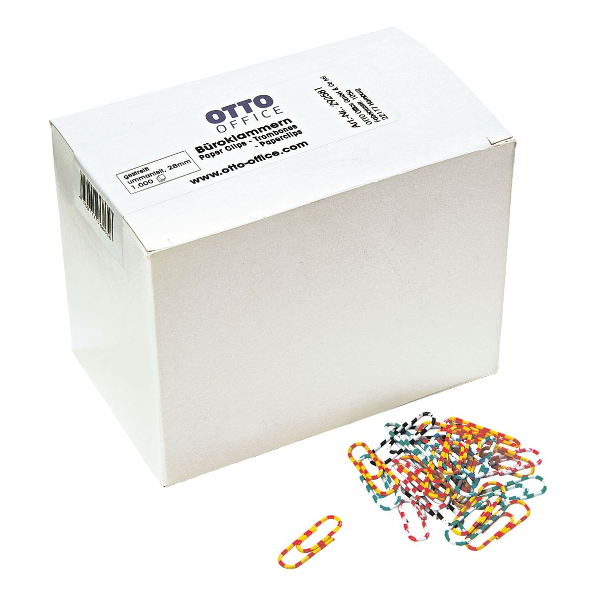 OTTO Office Büroklammern 28 mm, zweifarbig gestreift, 1000 Stück