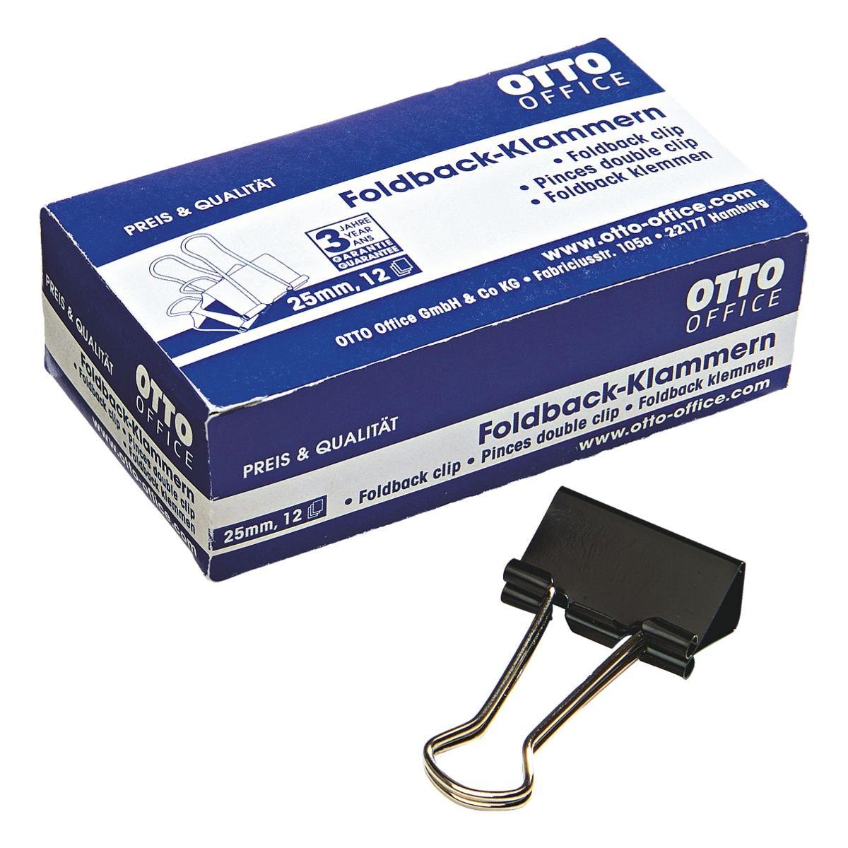 OTTO Office Foldback-Klammern 25mm, schwarz, 12 Stück
