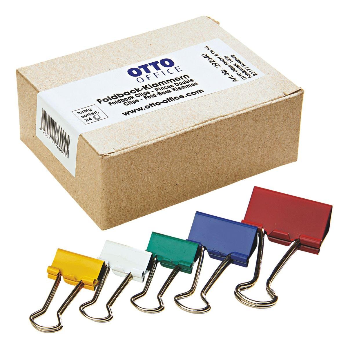 OTTO Office Foldback-Klammern gemischt, farbig sortiert, 24 Stück