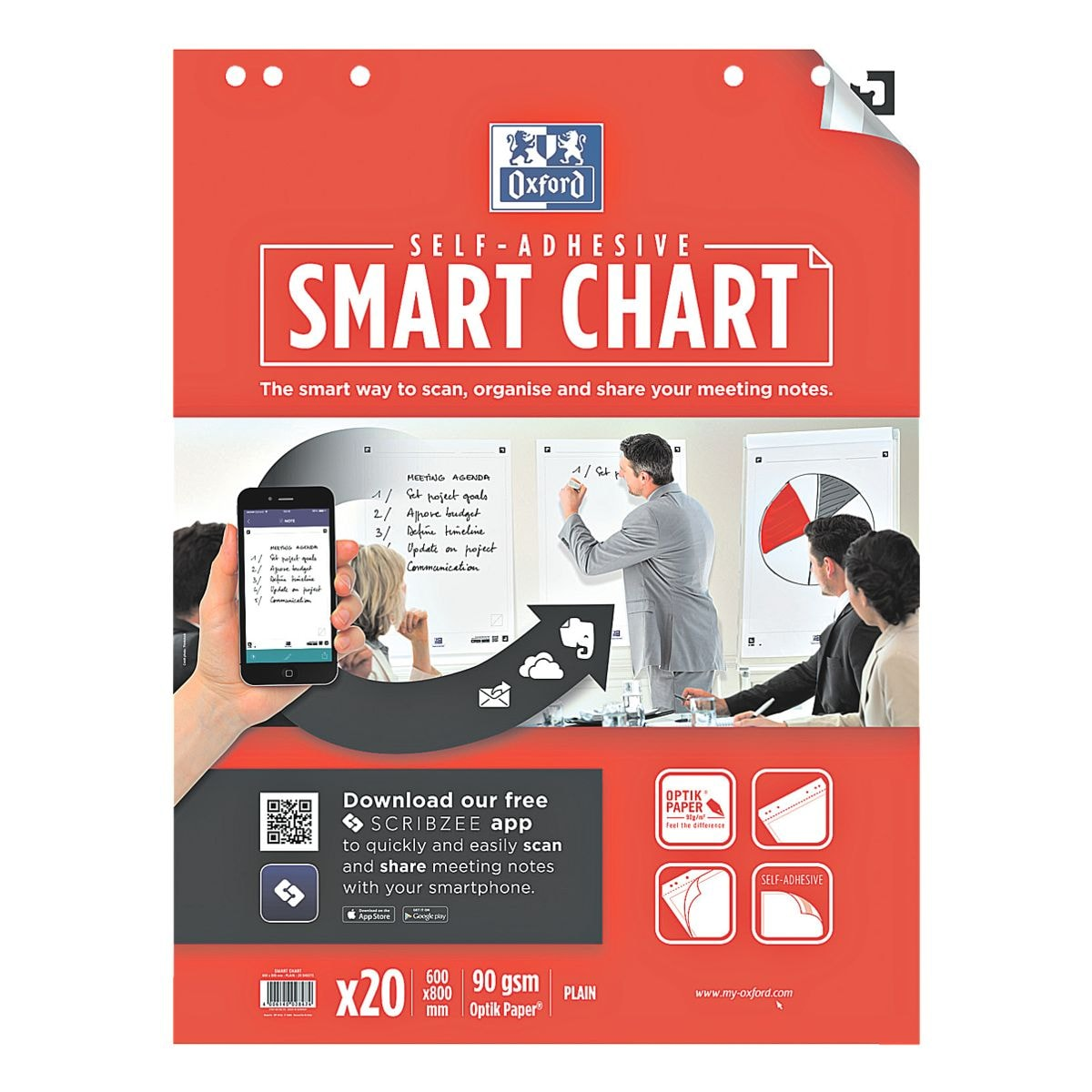 Oxford 3 Flipchartblöcke »Smart Chart« blanko selbstklebend