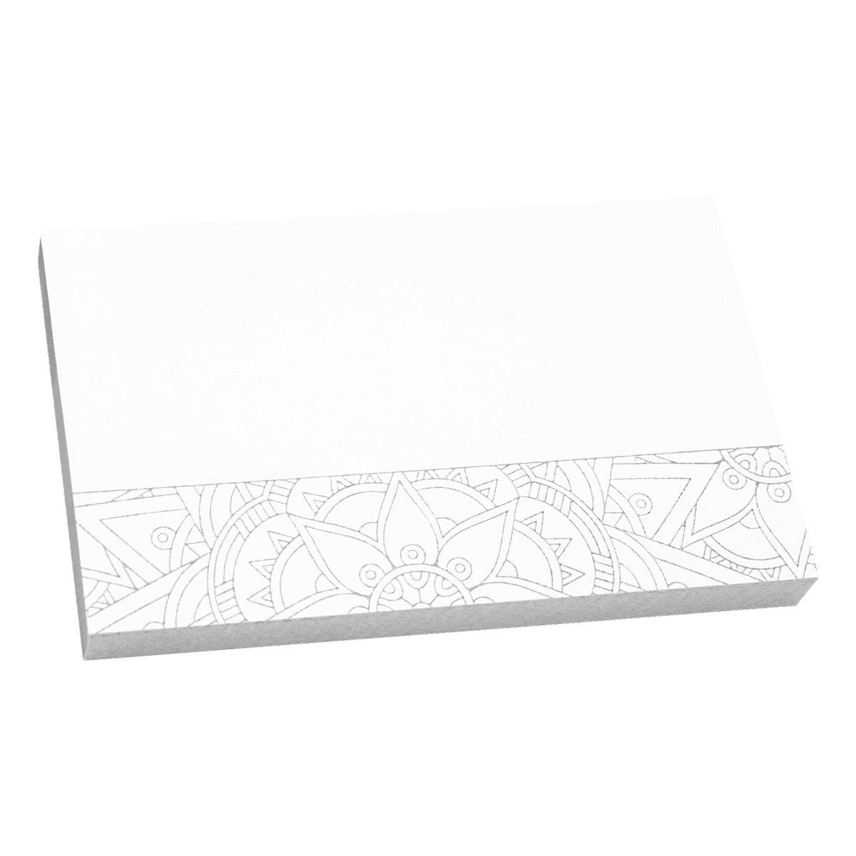 inFO Haftnotizblock Mandala 7,5 x 12,5 cm, 100 Blatt gesamt, weiß