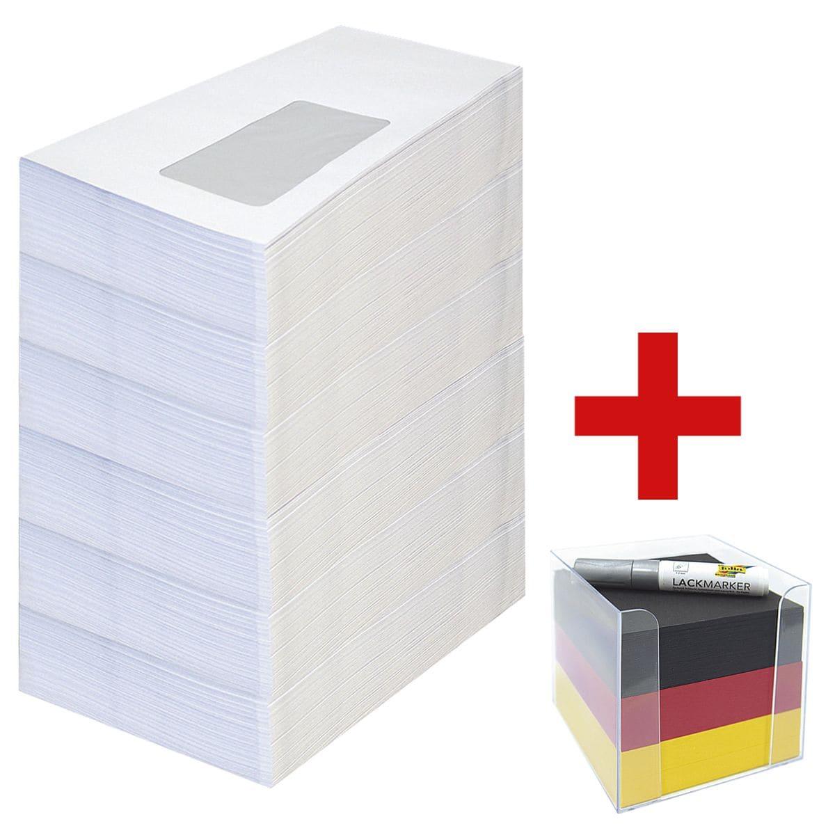 Briefumschläge, DIN lang 75 g/m² mit Fenster, selbstklebend - 1000 Stück inkl. Zettelbox mit Lack-Marker