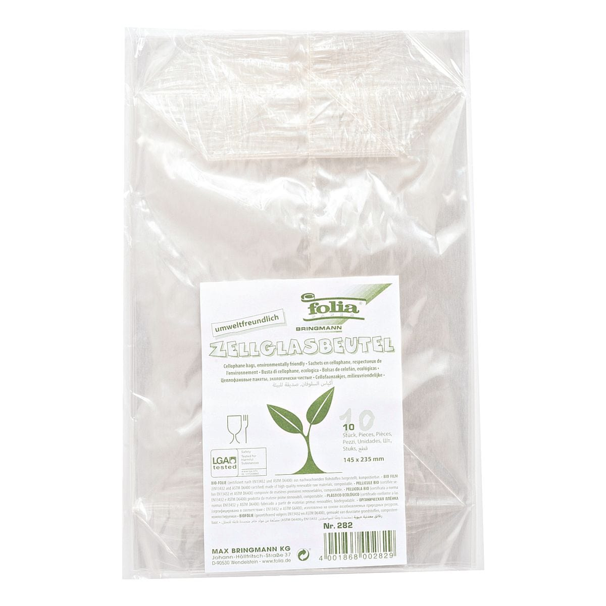 folia Zellglasbeutel ohne Druck 14,5x23,5 cm