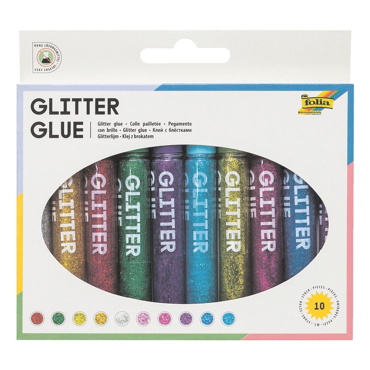 folia 10er-Set Flüssigklebe-Stifte »Glitter Glue«