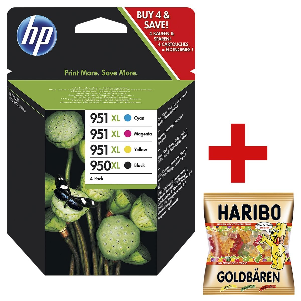 HP Tintenpatronen-Set HP 950XL + HP 951XL, schwarz, cyan, magenta, gelb - HP C2P43AE inkl. Fruchtgummi »Goldbären«