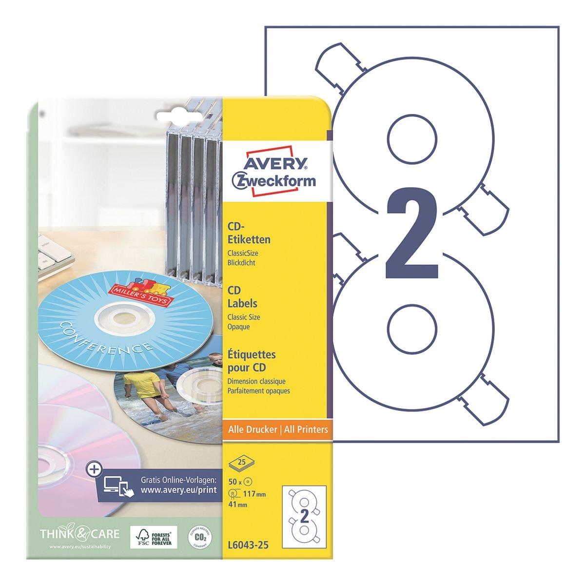 Avery Zweckform 50er-Pack CD-/DVD-Label »L6043-25«