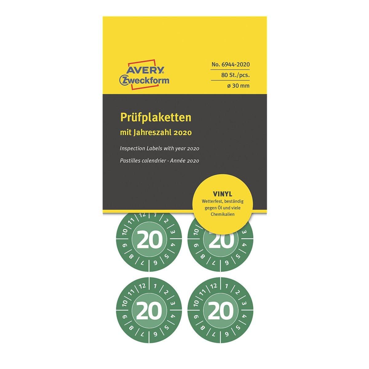 Avery Zweckform Vinyl-Prüfplaketten »6944« für das Jahr 2020