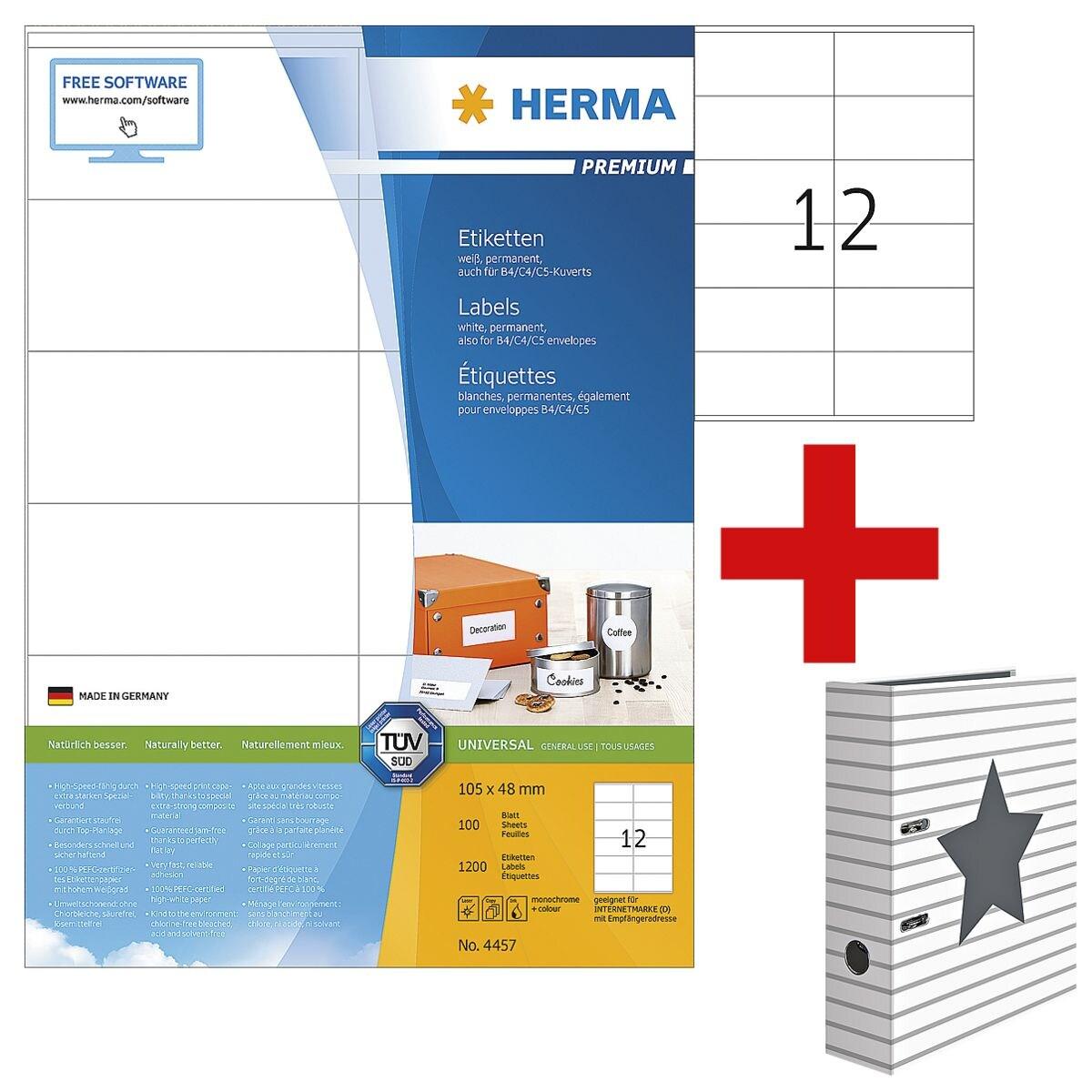 Herma 1200er-Set Universal-Klebeetiketten »4457« inkl. Motivordner »Stars«