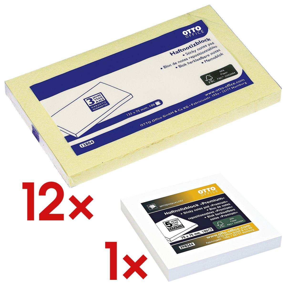 12x OTTO Office 12,5 x 7,5 cm, 1200 Blatt gesamt, gelb inkl. Haftnotizblock 75 x 75 mm weiß