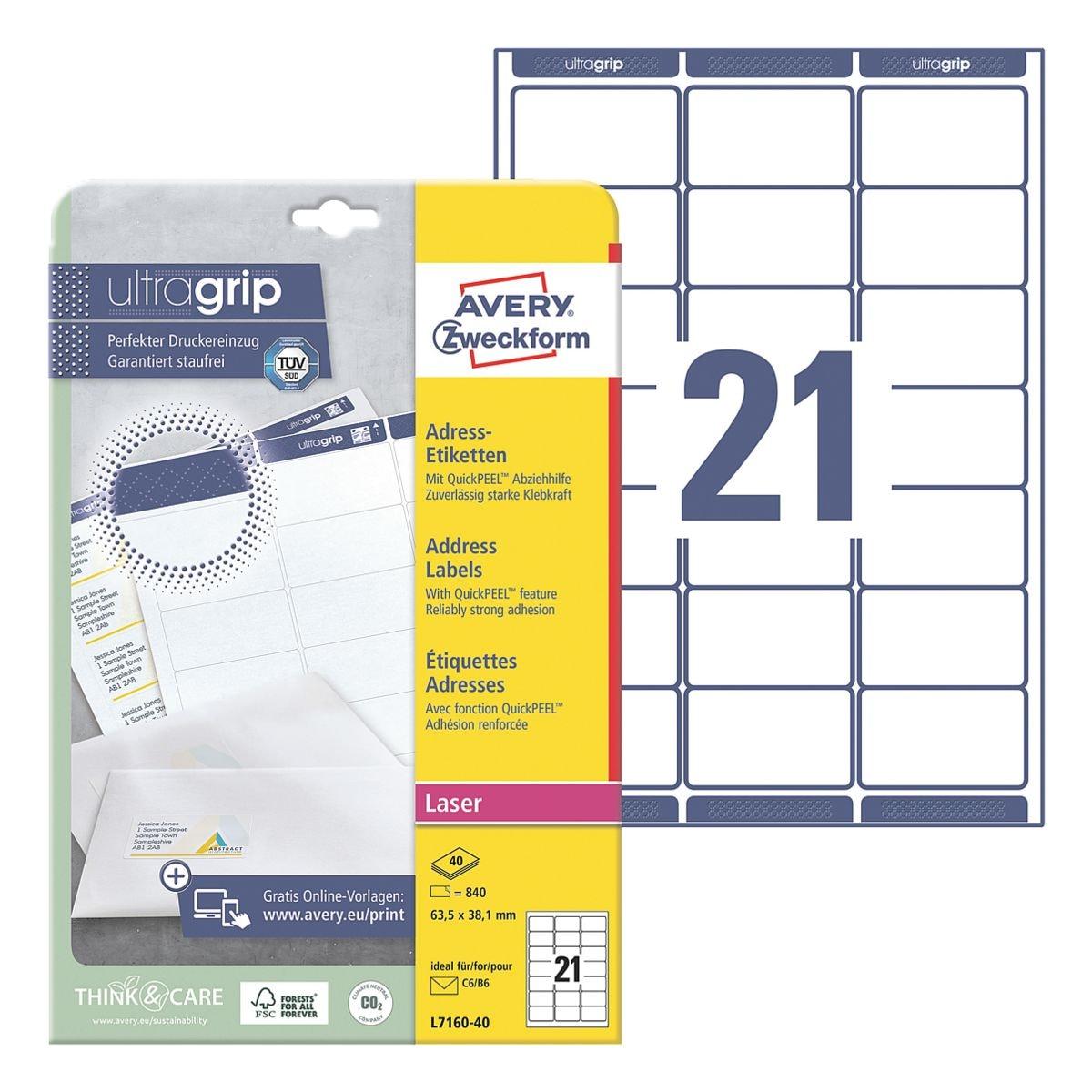 Avery Zweckform 840er-Pack Adress-Etiketten mit ultragrip »L7160-40«