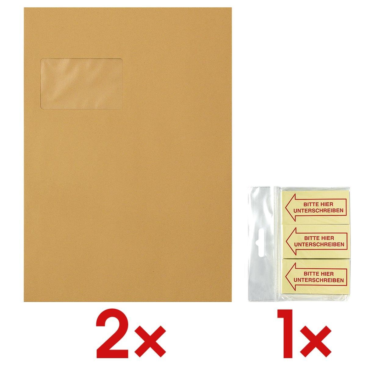 2x 250 Versandtaschen, C4 mit Fenster inkl. Haftmarker »Bitte hier Unterschreiben« 70 x 35 mm