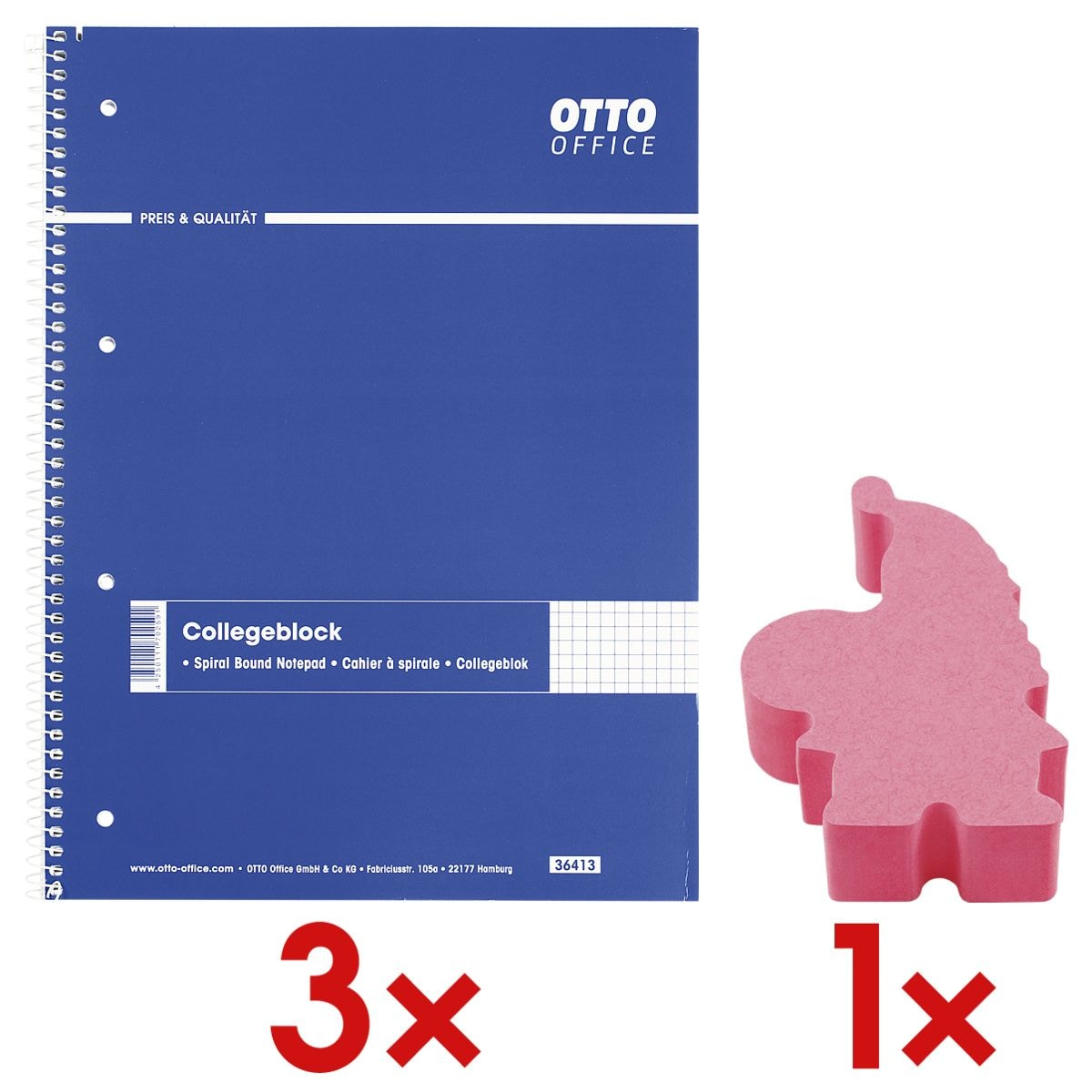 3x OTTO Office Collegeblock A4 kariert, 80 Blatt inkl. Haftnotizwürfel »Santa Claus«