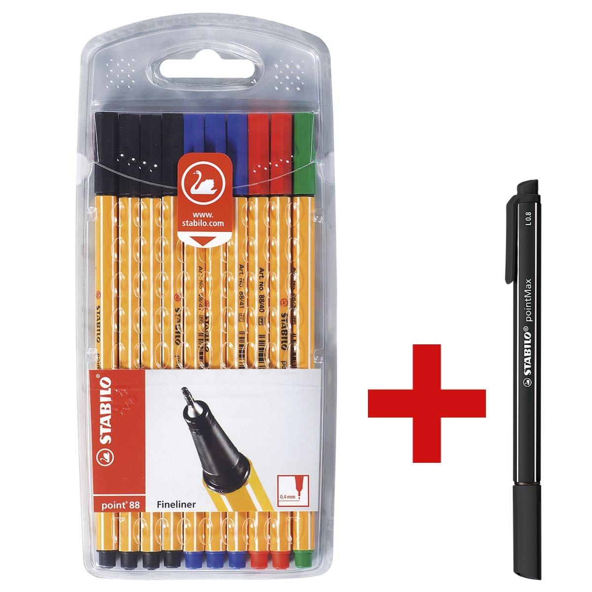 STABILO Fineliner-Set point 88® - Office, 0,4mm inkl. Filzschreiber »pointMax schwarz«