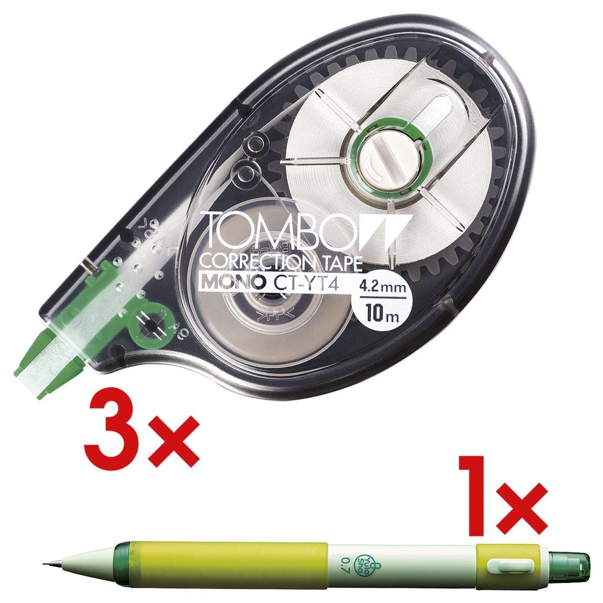 3x Tombow Einweg-Korrekturroller Mono, 4,2 mm / 10 m inkl. Druckbleistift »Yula-Sha« 0,7 mm HB