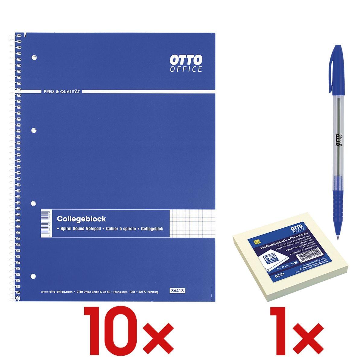 10x Collegeblock A4 kariert, holzfreies ECF-Papier inkl. Haftnotizblock 75 x 75 mm und Einweg-Kugelschreiber »Eco Stick«