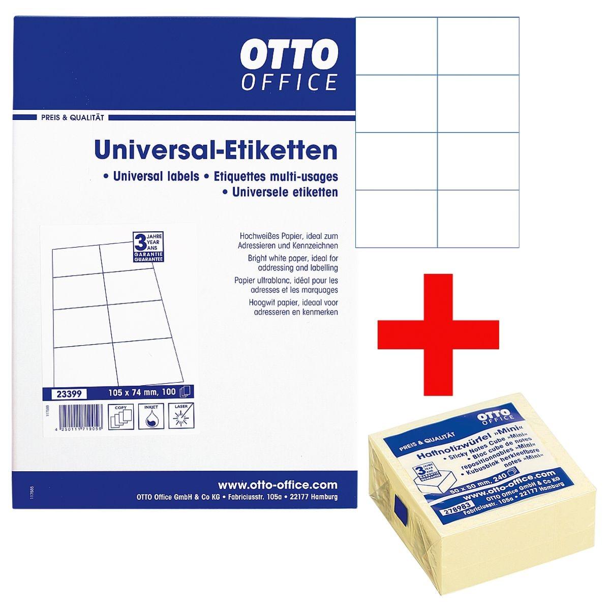 OTTO Office 800er-Pack Universal Klebeetiketten inkl. Haftnotizwürfel »Mini«