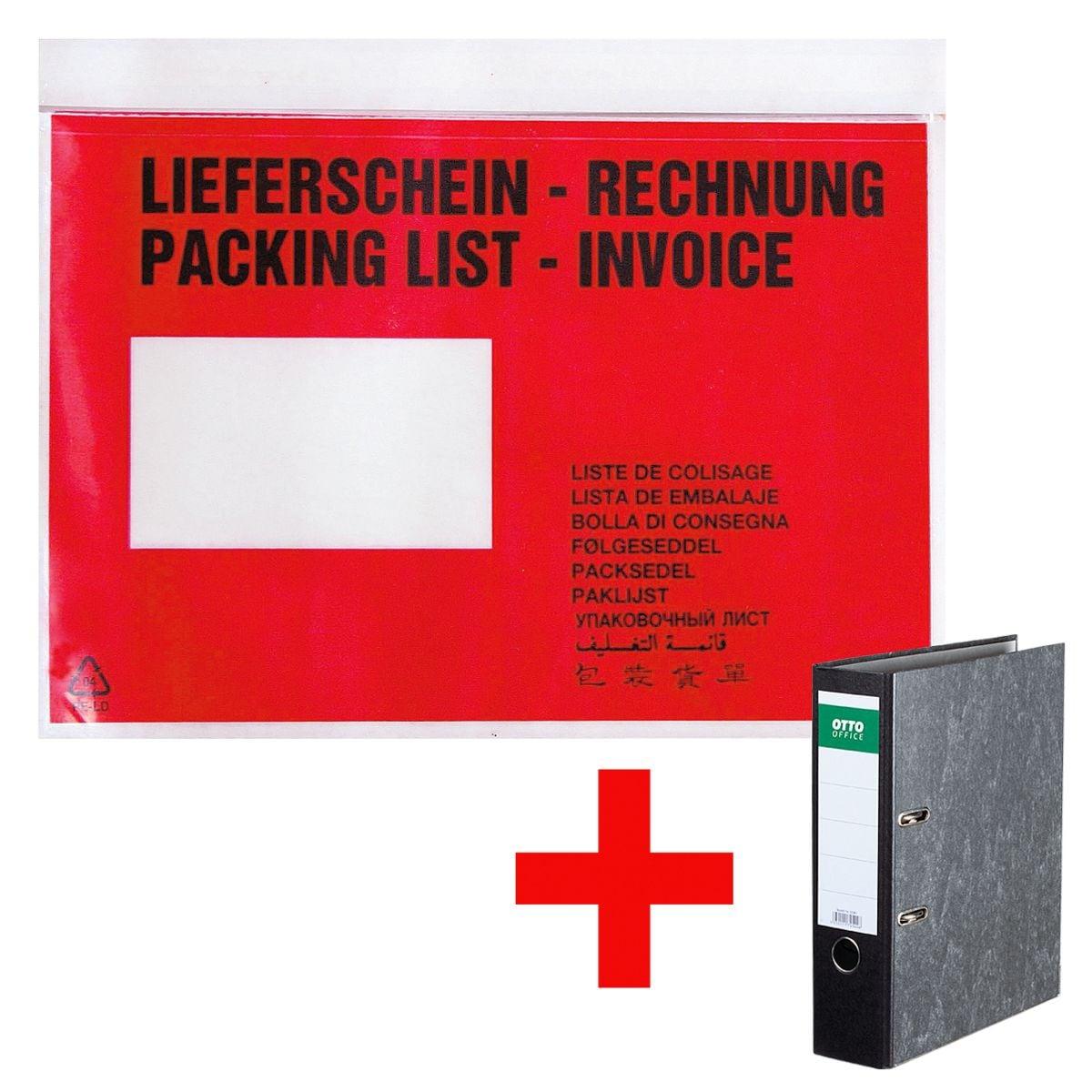 OTTO Office Dokumenten- & Lieferscheintaschen mit Aufdruck C5 500 Stück inkl. Ordner »Classic«