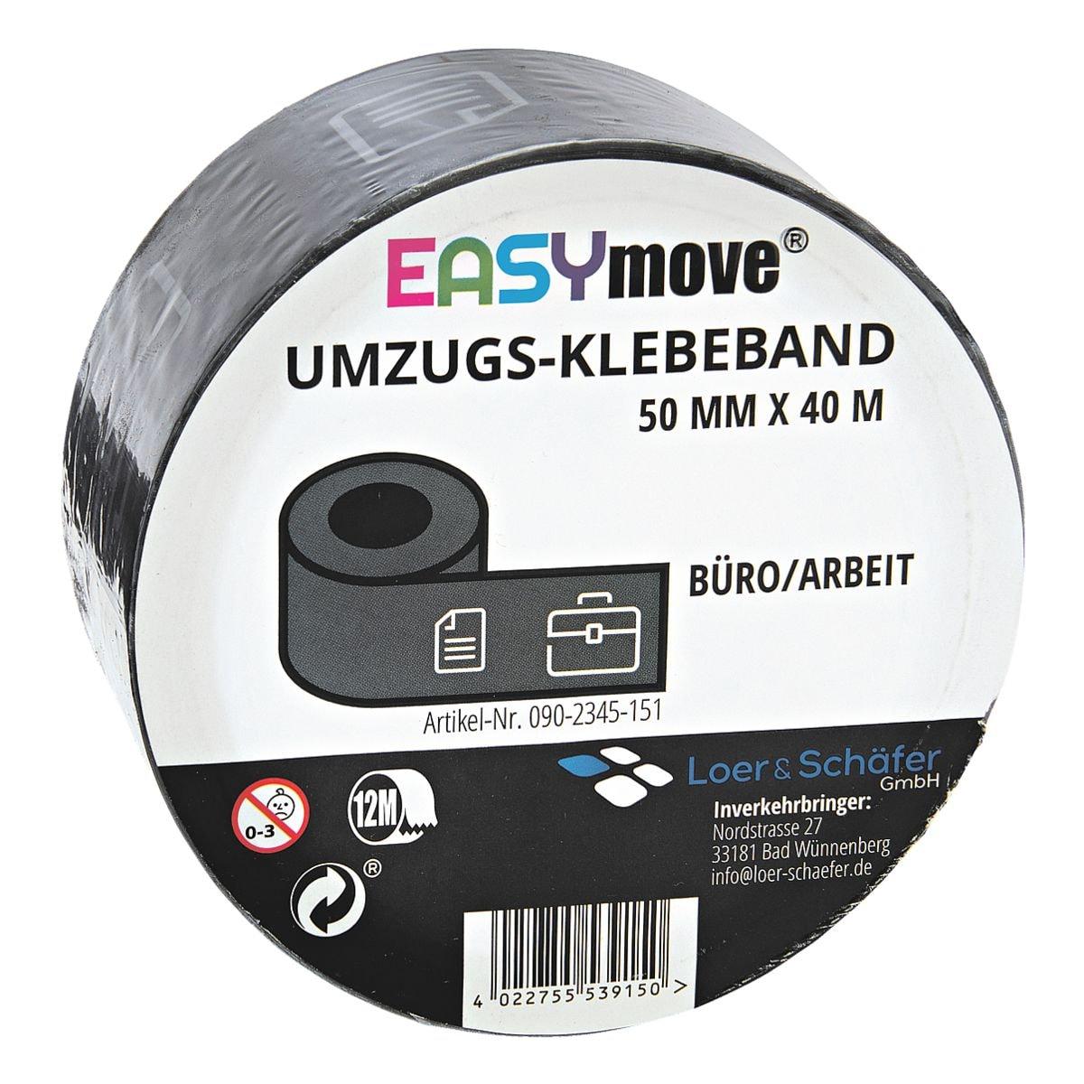 Loer & Schäfer Umzugs-Klebeband EasyMove® Büro/Arbeit grau, 50 mm breit, 40 Meter lang